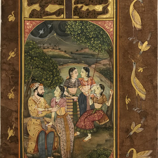 Miniature - Mughals Outdoors - III by Unknown Artist, Folk Painting, Natural colours on paper, Irish Coffee color