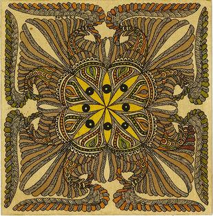 Matsyarajya - IV by Unknown Artist, Folk Painting, Acrylic & Ink on Paper, Husk color