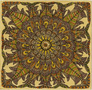 Matsyarajya - V by Unknown Artist, Folk Painting, Acrylic & Ink on Paper, Tacha color
