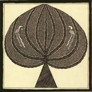 Vrakshpati - II by Unknown Artist, Folk Painting, Acrylic & Ink on Paper, Raffia color