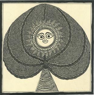 Vrakshpati - IV by Unknown Artist, Folk Painting, Acrylic & Ink on Paper, Kelp color