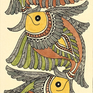 Matsyasana - V by Unknown Artist, Folk Painting, Acrylic & Ink on Paper, Mint Julep color