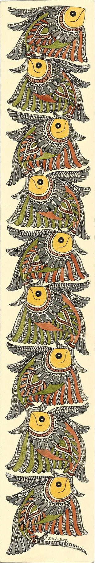 Matsyasana - VI by Unknown Artist, Folk Painting, Acrylic & Ink on Paper, Wheatfield color