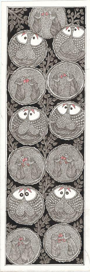 Matsya-sthala - I by Unknown Artist, Folk Painting, Acrylic & Ink on Paper,