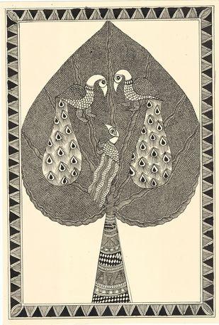 Vrakshalaya - I by Unknown Artist, Folk Painting, Acrylic & Ink on Paper,