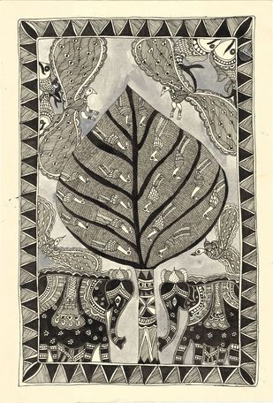 Vrakshalaya - II by Unknown Artist, Folk Painting, Acrylic & Ink on Paper,