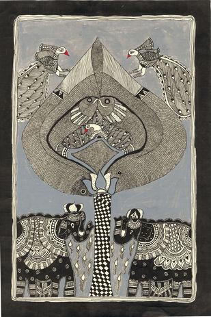 Vrakshalaya - V by Unknown Artist, Folk Painting, Acrylic & Ink on Paper, Gray color