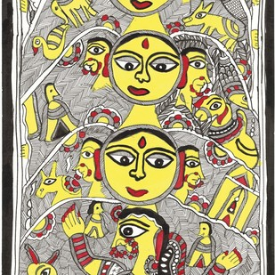 Devi-lok - I by Unknown Artist, Folk Painting, Acrylic & Ink on Paper,