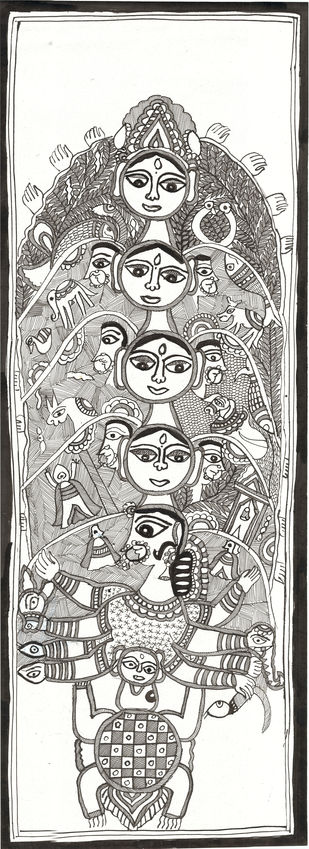 Devi-lok - II by Unknown Artist, Folk Painting, Acrylic & Ink on Paper, Westar color