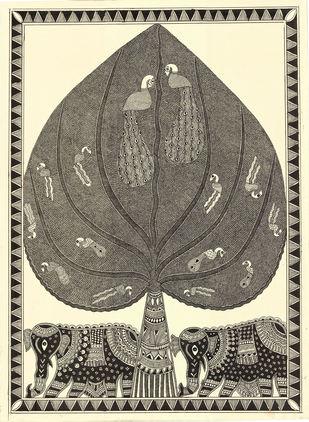 Rajvraksh - II by Unknown Artist, Folk Painting, Acrylic & Ink on Paper, Birch color