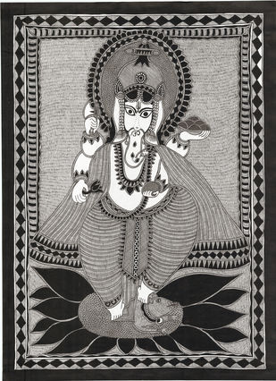 Siddhidhata - III by Unknown Artist, Folk Painting, Acrylic & Ink on Paper,