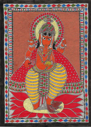 Siddhidhata - IV by Unknown Artist, Folk Painting, Acrylic & Ink on Paper, Onyx color