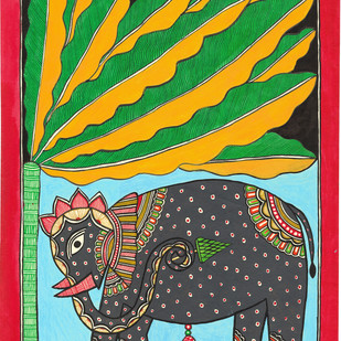 Gajraja - I by Unknown Artist, Folk Painting, Acrylic & Ink on Paper, Everglade color