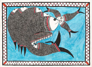 Matsya-kul by Unknown Artist, Folk Painting, Acrylic & Ink on Paper, Dawn Pink color