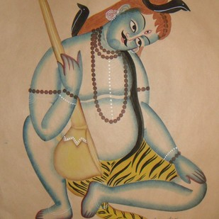 Untitled by KALAM PATUA, Folk Painting, Watercolor on Paper, Sandal color