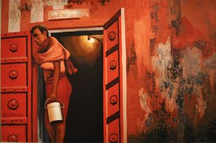 Untitled by Sanjay Bhattacharya, Expressionism Painting, Oil on Canvas, Oil color