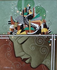 Couple-1 by Somnath Benerjee, Expressionism Painting, Acrylic on Canvas, Limed Ash color