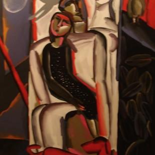 Taj Ko Jala Diya by Swapan Bhandary, Expressionism Painting, Oil on Canvas, Tamarind color