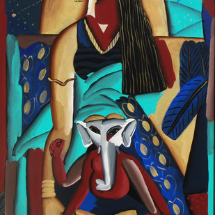 The Special Child by Swapan Bhandary, Expressionism Painting, Acrylic on Canvas, Laser color