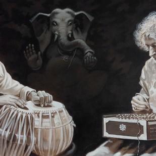 Harmony by Prasad Kulkarni, Illustration Painting, Acrylic on Canvas, Eerie Black color