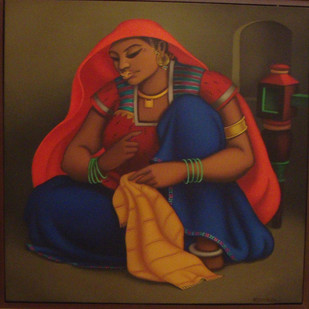 Knitting by Subrata Saha, Expressionism Painting, Oil on Canvas, English Walnut color