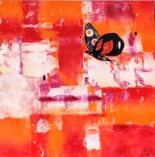black butterfly by Gita Hudson, Abstract Painting, Oil on Canvas, Pomegranate color