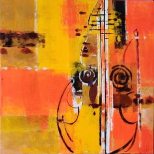 strings by Gita Hudson, Abstract Painting, Oil on Canvas, Zest color