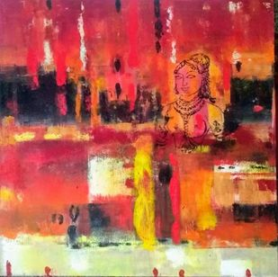 bronze by Gita Hudson, Abstract Painting, Oil on Canvas, Crail color