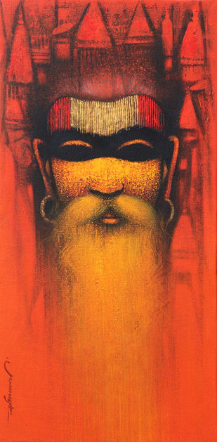 A Sadhu's Reminiscences by Somnath Bothe, Expressionism Painting, Acrylic on Canvas, Woody Brown color