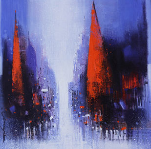 Street of Banaras by Somnath Bothe, Expressionism Painting, Acrylic on Canvas, London Hue color