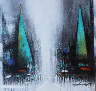 Street of Banaras by Somnath Bothe, Expressionism Painting, Acrylic on Canvas, Shark color