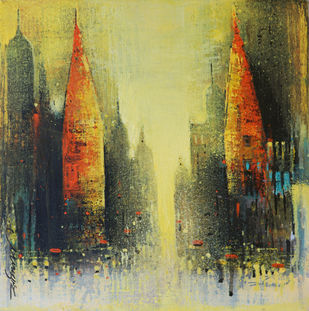 Street of Banaras by Somnath Bothe, Abstract Painting, Acrylic on Canvas, Heavy Metal color