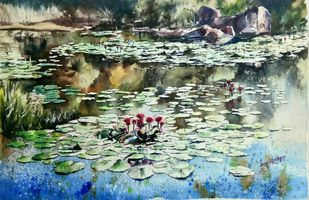 Lily pond by Lasya Upadhyaya, Impressionism Painting, Watercolor on Paper, Nandor color