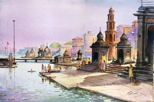 Ramkund Godavari by Ananda Ahire, Impressionism Painting, Watercolor on Paper, Masala color