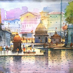 Ramkund Godavari Nashik - iv by Ananda Ahire, Impressionism Painting, Watercolor on Paper, Swiss Coffee color