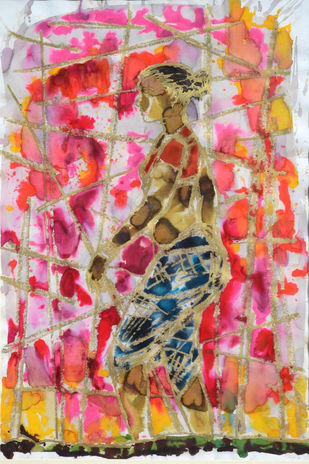 Untitled by Owais Husain, Expressionism Painting, Mixed Media on Paper, Oriental Pink color