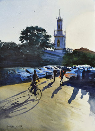 Evening shadows by Ramesh Jhawar, Realism Painting, Watercolor on Paper, Kangaroo color