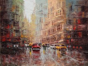 City Scape by Purnendu Mandal, Impressionism Painting, Oil on Canvas, Russett color