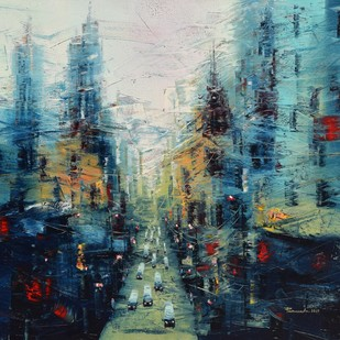 City Scape - 2 by Purnendu Mandal, Impressionism Painting, Oil on Canvas, Kangaroo color