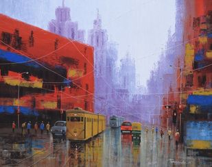 After Rain in Kolkata by Purnendu Mandal, Impressionism Painting, Acrylic on Canvas, Ferra color