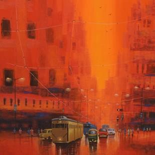 Good Morning Kolkata by Purnendu Mandal, Impressionism Painting, Acrylic on Canvas, Orange Roughy color