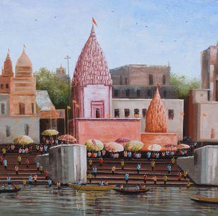 Banaras Ghat by Purnendu Mandal, Impressionism Painting, Acrylic on Canvas, Hemp color