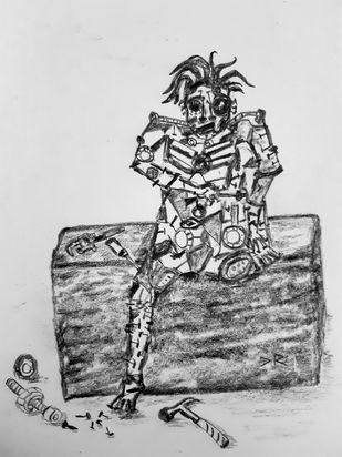 Talking Scraps- 3 by Debajyoti Roy, Illustration Drawing, Charcoal on Paper, Tundora color