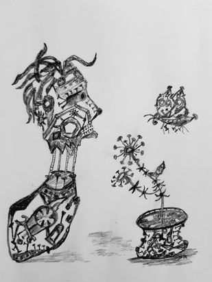 Talking Scraps- 4 by Debajyoti Roy, Illustration Drawing, Charcoal on Paper, Mine Shaft color