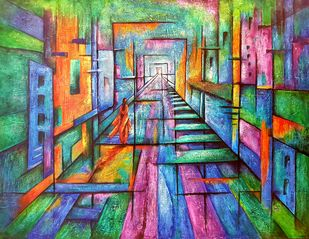 Eclectic by Neeti Aggarwal, Cubism Painting, Mixed Media on Canvas,