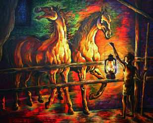 In stable - 002 by Masud Doctor, Expressionism Painting, Acrylic on Canvas, Dune color