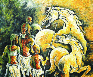 A visit by Masud Doctor, Expressionism Painting, Acrylic on Canvas, Roti color