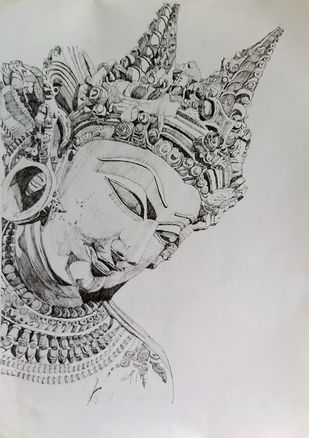 Celestial Deity (Devata) Face by Pooja Wadekar, Illustration Drawing, Pen & Ink on Paper, Silver color