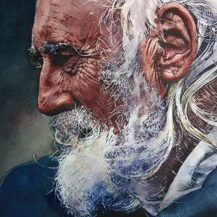 Beard man Digital Print by Uday Bhan,Impressionism