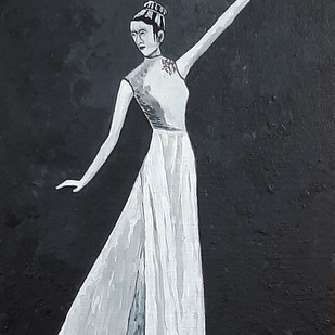 Dancing Lady by Tejal Bhagat, Expressionism Painting, Acrylic on Canvas, Iron color